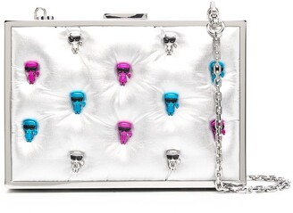 Karl Lagerfeld Paris Metallic-Tone Skull-Embellished Clutch Bag