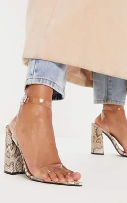 PrettyLittleThing Snake Clear Strap Block Heel Point Toe Sandal