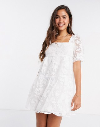 Fashion Union mini sheer smock dress in white floral
