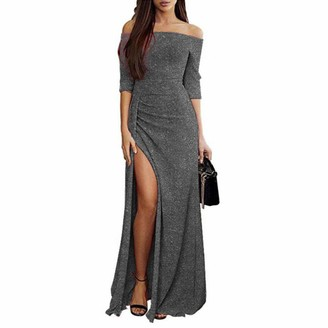 IWEMEK Women Shiny Off Shoulder Dress Elegant Metallic Ruched Thigh Slit Long Dresses 3/4 Sleeve Glitter Side High Slit Maxi Gown Dress for Wedding Cocktail Evening Pageant Homecoming Party Grey XL