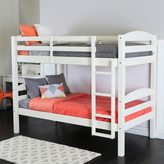 Walker Edison Twin Over Twin Solid Wood White Bunk Bed