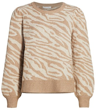 Design History Zebra Puff-Sleeve Sweater