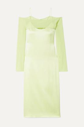 Cushnie Cold-shoulder Silk-blend Chiffon-trimmed Satin-crepe Midi Dress - Chartreuse