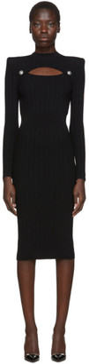 Balmain Black Rib Knit Cut-Out Dress