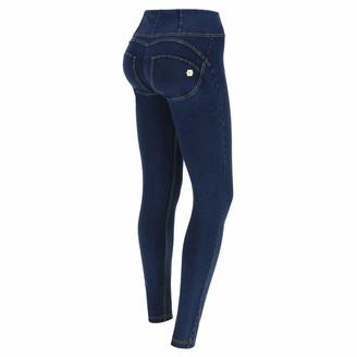 Freddy WR.UP Skinny High Rise in Stretch Dark Denim - Dark Jeans-Yellow Seam - Small