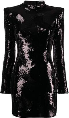 Balmain padded shoulder sequin dress