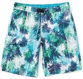 Roundtree & Yorke Big & Tall Palm Camo Swim Trunks