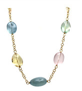 Tresor Collection - Multi Color Stone Baroque Necklace in 18K Yellow Gold Default Title