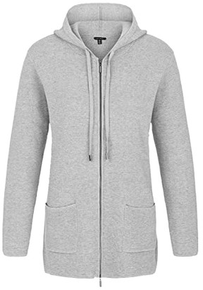 Tribal Hooded Long Sleeve Zip Front Sweater Cardigan (Grey Mix) Women's Sweater