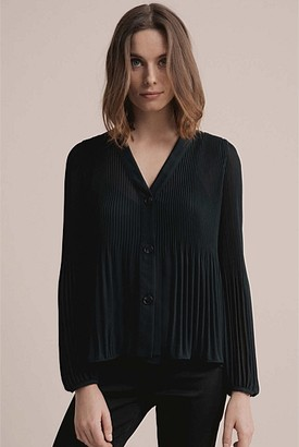 Witchery Pleated Button Through Blouse
