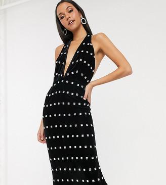 Asos DESIGN Tall halter neck velvet embellished midi dress