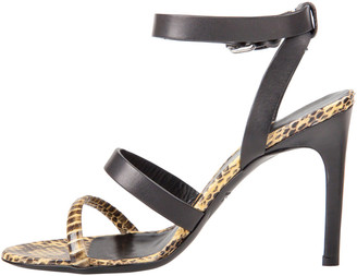 Alexander McQueen Black/Yellow Leather And Embossed Snakeskin Ankle Cuff Strappy Sandals Size 36