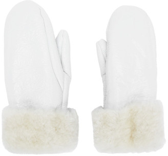 Yves Salomon White Shearling Mittens