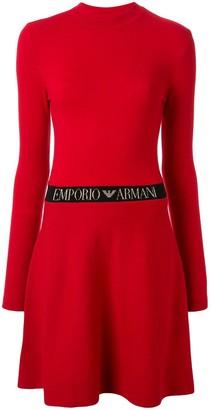 Emporio Armani Branded Waist Flared Dress