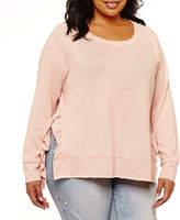 Boutique + + Long Sleeve Ruffle Side Sweatshirt-Plus
