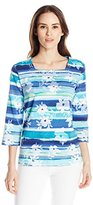 Alfred Dunner Women's Boat Neck Floral and Striped Shirt with Embellishment