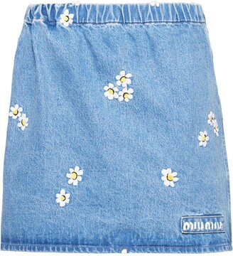 Miu Miu Daisy Embroidered Skirt