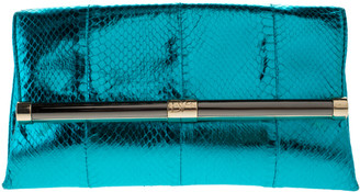 Diane von Furstenberg Metallic Turquoise Snake Effect Leather Clutch