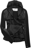Valentino Leather and tweed ruffled jacket