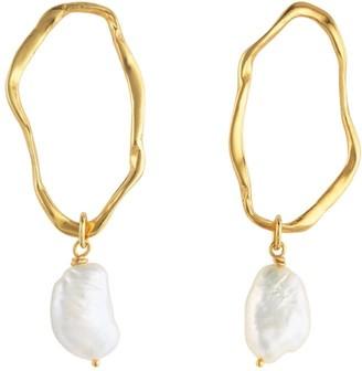 Deborah Blyth Gold Ripple With Pearl Earrings