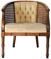One Kings Lane Vintage Upholstered Faux-Bamboo Accent Chair