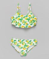 KensieGirl Green & Yellow Lemon Bandeau Bikini - Girls