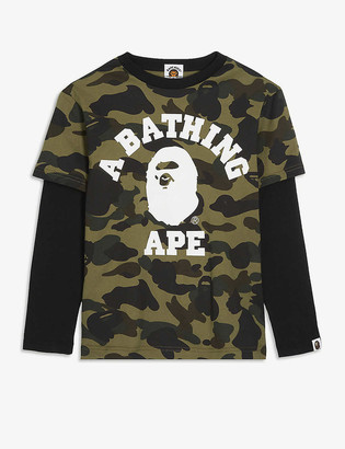A Bathing Ape Logo camouflage print layered cotton top 4-10 years