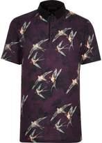 River Island Mens Big and Tall dark Red bird short sleeve shirt
