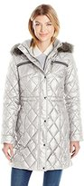 GUESS Women's Polyfill Cinched Waist Quilted Puffer Faux Fur Hood