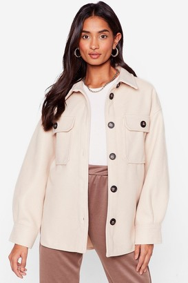 Nasty Gal Womens Oh Pocket About It Faux Wool Shirt Jacket - Beige - S