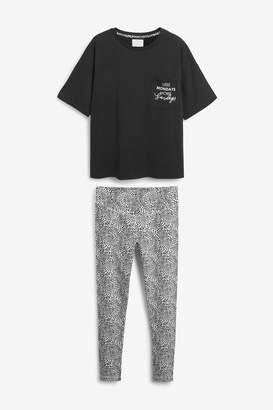 Next Womens Monochrome Spot Legging Pyjamas - Black