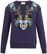 Gucci Angry Cat-appliqué cotton sweatshirt
