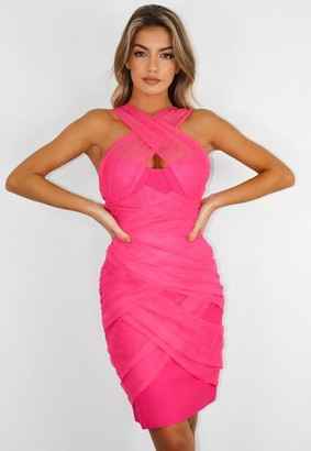 Missguided Pink Mesh Ruched Bandeau Bandage Mini Dress