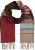 Johnstons of Elgin Cashmere & Merino Scarf In Fine Ombre Stripe - Brown & Teal
