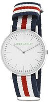 Laura Ashley Women's LA31016RD Stainless Steel Watch with Striped Nylon Band