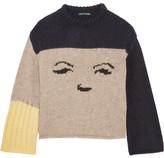 ALEXACHUNG - Intarsia Knitted Sweater - Beige