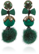 Ranjana Khan Green Fur Pom Earrings