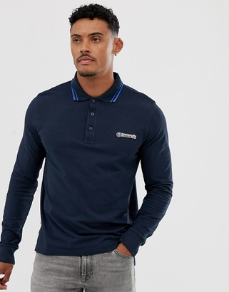Lambretta long sleeve logo polo shirt-Navy
