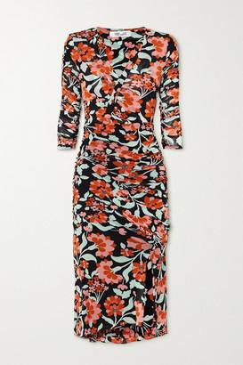 Diane von Furstenberg Briella Wrap-effect Ruched Floral-print Jersey Midi Dress - Green