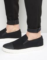 Asos Slip On Sneakers in Black With Toe Cap