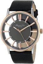 Kenneth Cole New York Men's KC8046 Slim Round Grey Dial Transparent Rose Gold Case Watch