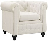 The Well Appointed House Beige Armchair with Deep Tufted Buttons and Large Rounded Arms