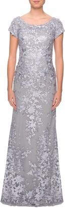 La Femme Lace A-Line Gown