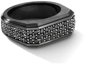 David Yurman The Pave Roman Black Titanium & Black Diamond Signet Ring