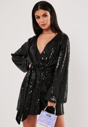 Missguided Black Sequin Wrap Balloon Sleeve Mini Dress