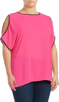 Vince Camuto Plus Contrast Cold Shoulder Top
