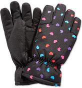London Fog Girls' Heart-Print Snow Gloves