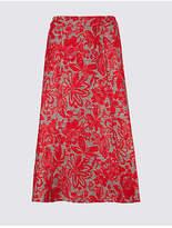 Classic Floral Print A-Line Midi Skirt