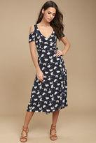 Glamorous Kayden Navy Blue Print Midi Wrap Dress