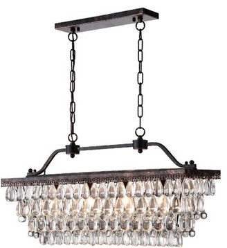 Gracie Oaks Liam 4 - Light Kitchen Island Linear Pendant with Crystal Accents